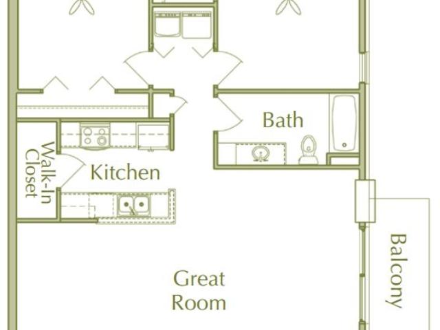 Hidden Ponds Pewaukee apartment 2Bed 1Bath V2 floor plan