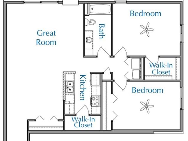 Ridge View Waukesha apartment 2Bed 1Bath V1 floor plan