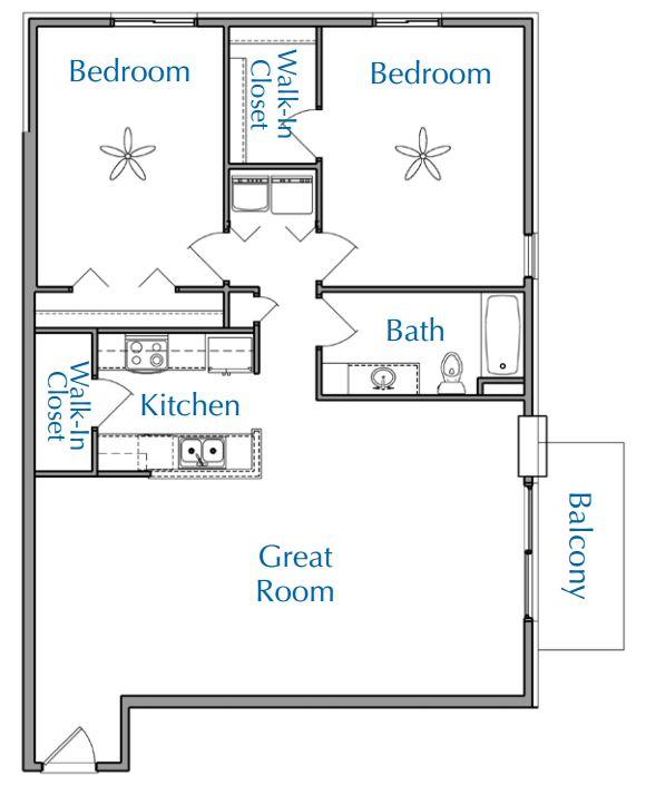 Ridge View Waukesha apartment 2Bed 1Bath V2 floor plan