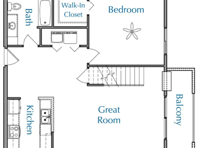 Ridge View Waukesha apartment 2Bed 2Bath Loft Lower floor plan