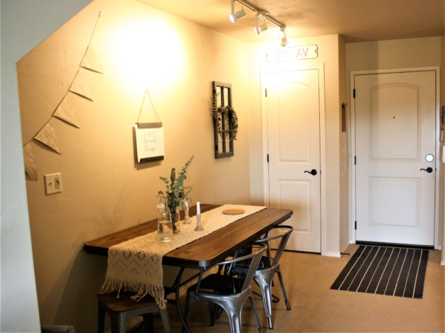 1 bedroom loft Entry / Dining Area with coat closet