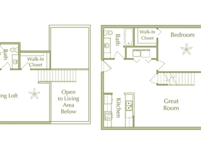 2 Bedroom, 2 Bath Loft Style Floor Plan