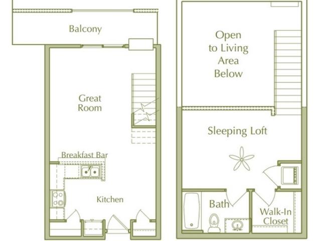 1 Bedroom Loft Style Floor Plan