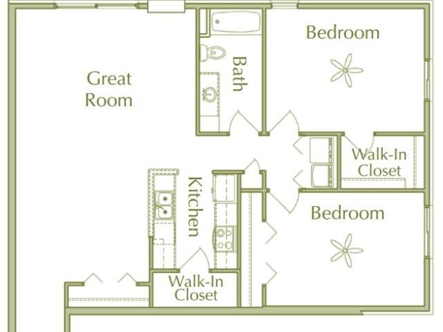 Hidden Ponds Pewaukee apartment 2Bed 1Bath V1 floor plan