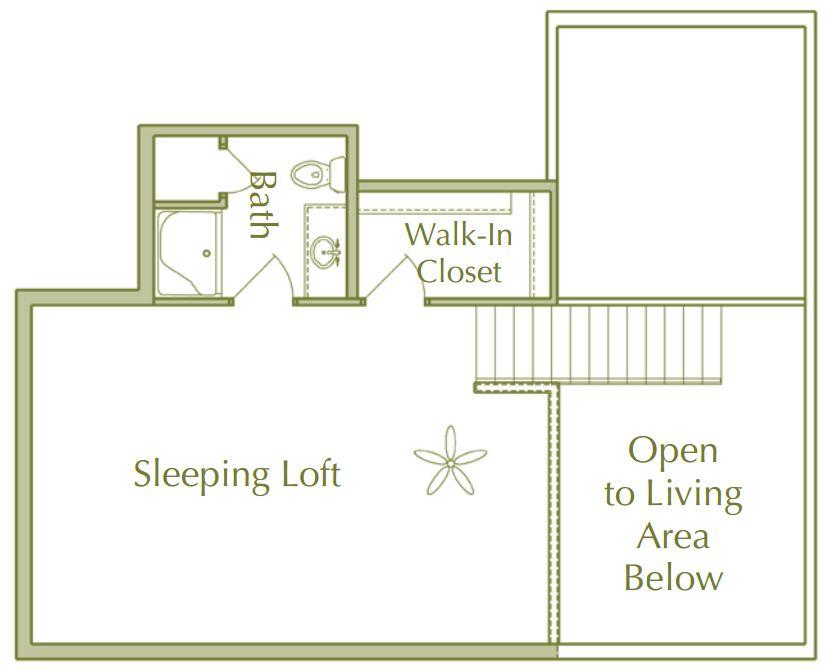 Hidden Ponds Pewaukee apartment 2Bed 2Bath Loft Upper floor plan