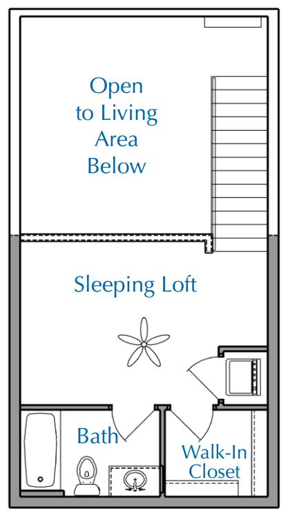 Ridge View Waukesha apartment 1Bed Loft Upper floor plan